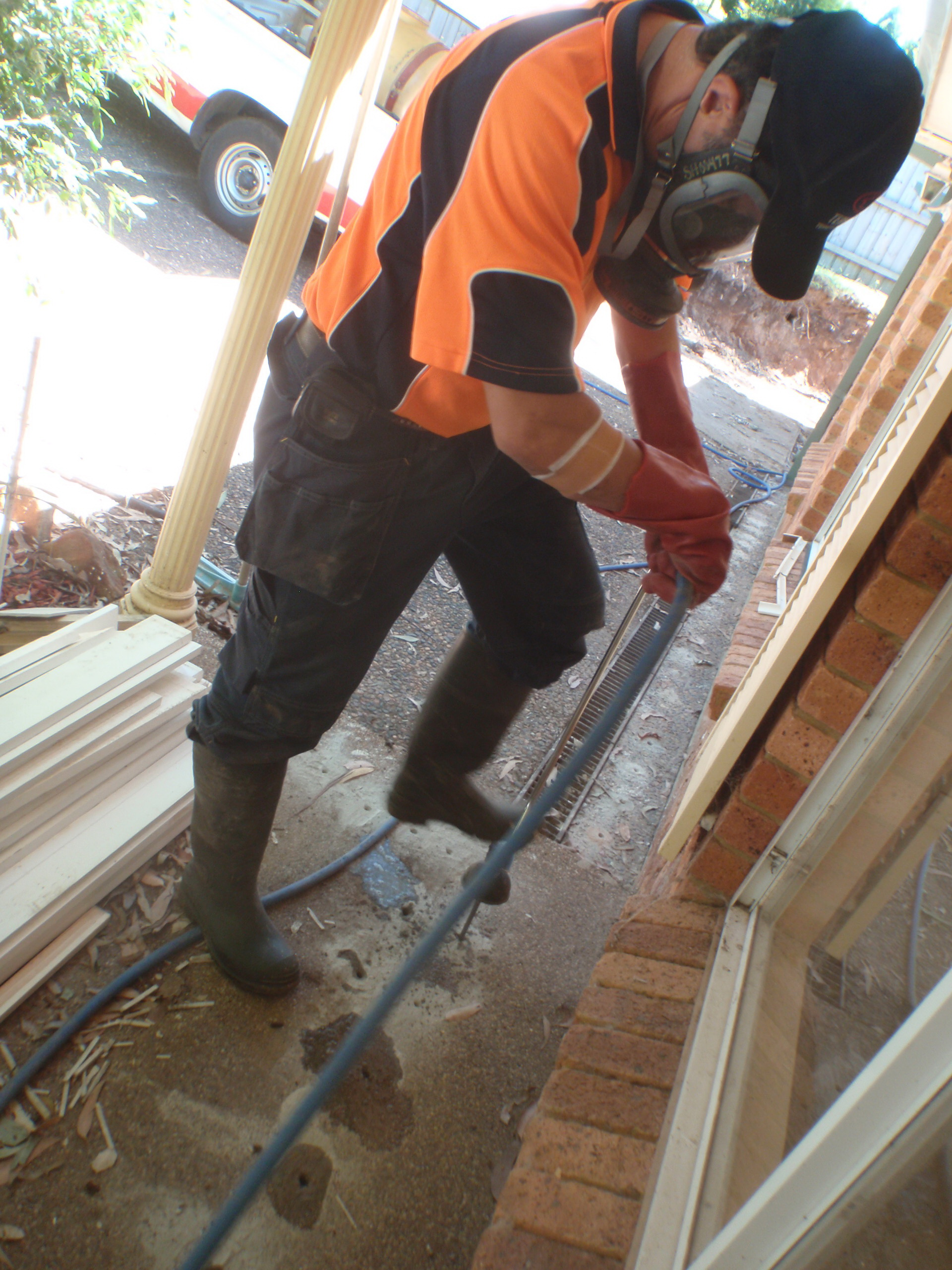 I am inserting termite insecticides under the slab.