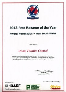 Best Pest Controller 2013, termite inspections Sydney, Sydney termite control or termite control Sydney